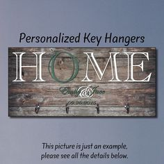 Personalized Housewarming Gift, New Home Gift, Key Holder, Key Rack, Key Hanger, Monogrammed Wedding Gift, Key Wall Organizer by TheLetterGiftShop3 on Etsy https://www.etsy.com/ca/listing/449129948/personalized-housewarming-gift-new-home