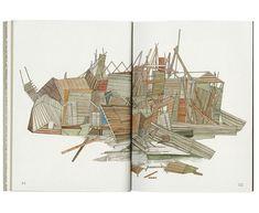 Nigel Peake Watercolor Sketch, Sketch Art, Exterior Rendering, Interior And Exterior, Rendering Techniques, Ghost House, Houses, Landscape, Drawings