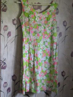 1960S mod hippie neon psychedelic printed flowers Flower Power sundress