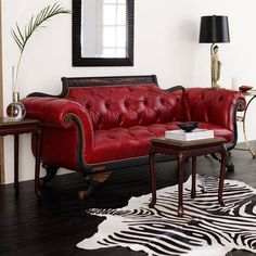 Red Tufted-Leather Sofa - Old Hickory Tannery