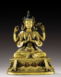 A GILT-BRONZE FIGURE OF BODHISATTVA AVALOKITESVARA SADAKSARI, TIBETO-CHINESE, QING DYNASTY, 18TH CENTURY