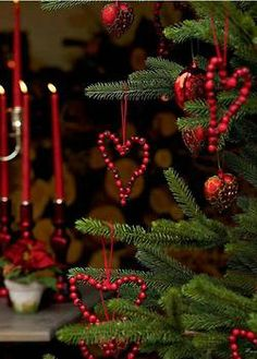Christmas with red cranberry hearts and candles.  Again the red really pops.  Dorothy