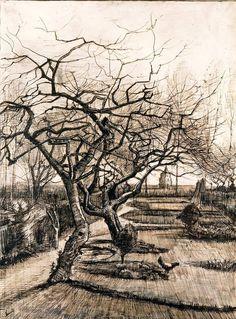 The Parsonage Garden at Nuenen in Winter. Mid March 1884. Vincent van Gogh.