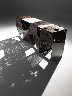 Buy online Riddled buffet By horm.it, aluminium and wood sideboard design Steven Holl, riddled Collection Steven Holl, Diy Design, Lamp Design, Urban Design, Buffet Design, Wood Sideboard, Credenza, Arch Model, Parametric Design