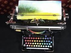 Tyree Callahan modified a 1937 Underwood Standard typewriter, replacing the letters and keys with colored pads he called the Chromatic Typewriter.