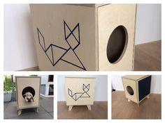 Luxueus kattenkastje. Aan een zijde een tanggram motief en de andere zijde ingelegd met tapijt.  Materiaal Multiplex.