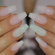 50 COFFIN NAIL ART DESIGNS - nenuno creative,Transparent Nails with Center Glittered Coffin Nails. This slaying ombre transparent nails with the ring finger being glittered. Gorgeous Nails, Love Nails, Pink Nails, White Nails, Perfect Nails, Dream Nails, Summer Shellac Nails, White Sparkle Nails, Zebra Nails