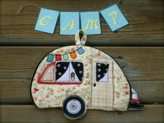 Camper Potholder, Camping potholder,  Tab camper, made to order