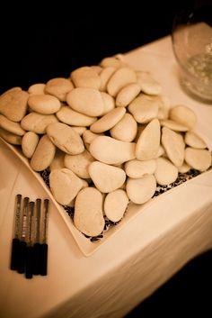 DIY wedding guestbook alternative stones. McKay photography Sydney