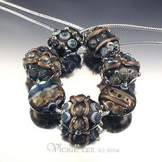 VICKIE LEE Lampwork Beads ~  Steel Blue Button Beads  (7)                  SRA