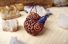 Celtic Knot Pendant Lapis Lazuli Clay Necklace by Claneral on Etsy