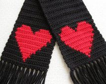 Black crochet scarf with red hearts for women. Red hearts scarf
