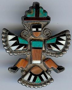 Vintage zuni indian sterling silver inlaid turquoise shell knifewing man pin