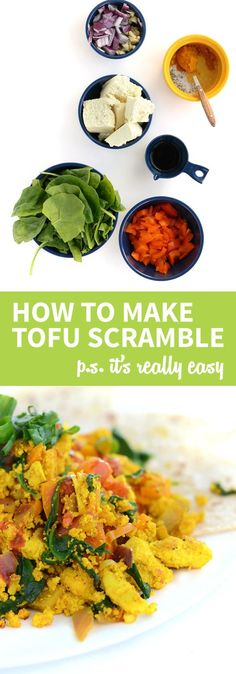 Learn how to make simple tofu scrambles for a quick and easy, healthy vegan breakfast option! Learn how to make simple tofu scrambles for a quick and easy, healthy vegan breakfast option! Vegan Breakfast Options, Tofu Breakfast, Healthy Vegan Breakfast, Breakfast Ideas, Tofu Recipes, Whole Food Recipes, Vegetarian Recipes, Healthy Recipes, Healthy Food