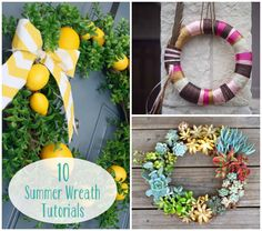 10 Summer Wreath Tutorials  I'm definitely making the shells one for sure!! So exciting!