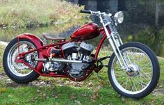 Dave Perewitz - Custom Red Motorcycle Red Motorcycle, Motorcycle Companies, Harley Bobber, Ride Or Die, Cool Bikes, Cool Stuff, Bobbers, Choppers, Shop