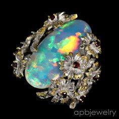 Top 12ct aaaa+ Natural Opal 925 Sterling Silver Ring Size 8.5/R35605 #APBJewelry #Ring