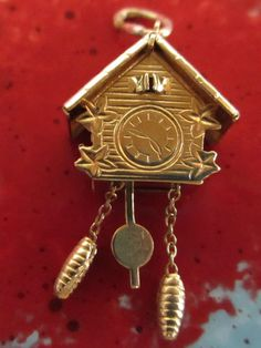 Vintage 18K Yellow Solid Gold 3D Movable Cuckoo Clock Charm Hallmarked 750