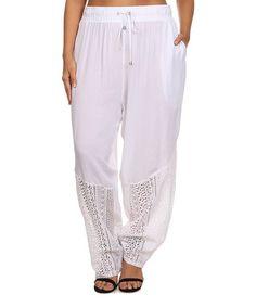 White Drawstring Pants - Plus