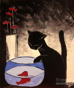 Goldfish With His Black Cat Friend Painting