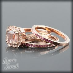 Asscher Cut Morganite and White Sapphire by LaurieSarahDesigns, $1840.50