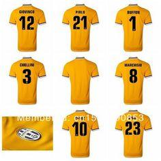 Juventus jersey top Thai version 13/14 Juventus soccer jersey pirlo CHIELLINI TEVEZ VIDAL, yellow football jerseys free shipping