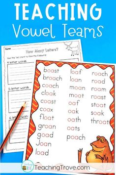 Looking for engaging vowel teams worksheets to help your kindergarten, first grade or second grade students learn the oa and ow spelling pattern? These pages get kids spelling and writing words with vowel teams in them. Introduce the vowel team with the posters and then consolidate them with the worksheets and activities. #vowelteams #phonicsworksheets