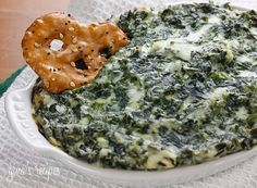 Hot Spinach Dip - I like to bake this in the oven until the edges get golden, but if all you have handy is a microwave, it will do.