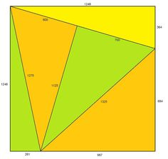 Fitting them together Five Pythagorean triangles fit together into a square. Is there a smaller square possible?
