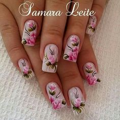 ### New Nail Designs, Nail Polish Designs, Beautiful Nail Designs, Nail Polish Art, New Nail Art, Cute Spring Nails, Pretty Nail Art, Flower Nail Art, Nail Art Stickers