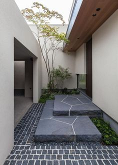 I loveee the use of plants in this design. Entrance Design, House Entrance, House Front Design, Modern House Design, Modern Courtyard, House Architecture Styles, Modern Entry, Exterior Stairs, Garden Steps