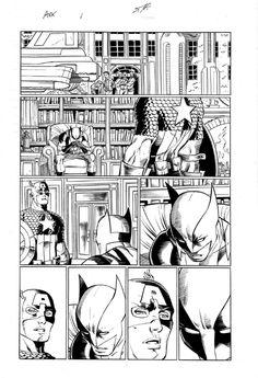 AVENGERS VS. X-MEN-ROMITA,JR./HANNA ORIGINAL ART:CAPTAIN AMERICA! WOLVERINE! Comic Art
