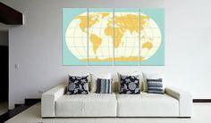 Canvas art print Modern World Map  48 x 31.5  4 by CanvasRevel
