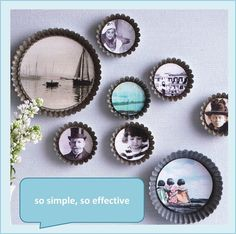 Old pie pans as photo frames. This is amazing!