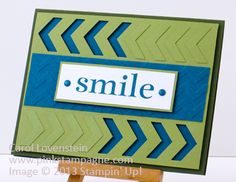 handmade card: Happy Day - Smile ... lots of chevrons ... embossing folder background across the middle ... punched and then faux embossing on top and bottom rows ... like how the two colors make the graphic design show up ... Stampin' Up!