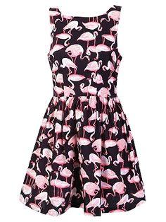 Shop Black Flamingo Print Sleeveless Skater Dress from choies.com .Free shipping Worldwide.$44.99