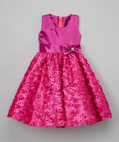 Fuchsia Rosette A-Line Dress - Infant, Toddler & Girls