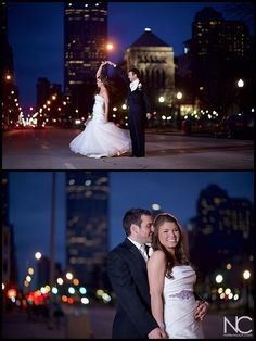 Wedding Pictures at the Sanctuary on Penn, Indianapolis Skyline twilight wedding pictures.