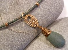 rustic copper and jade moon waves necklace