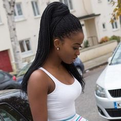 Ponytail For Small Box Braids | Styling Protective Styles | High Ponytail | Melanin | Protect Natural Hair