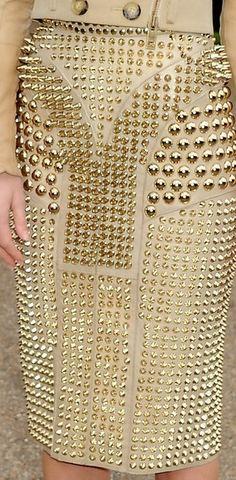 Burberry Prorsum Gold studded pencil skirt