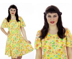 60s Babydoll Dress Flutter Sleeves Yellow by neonthreadsdesigns, $44.00