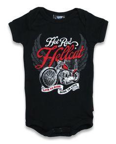 Hotrod Hellcat Baby LIVE TO RIDE Strampler.Tattoo,Biker,Oldschool,Custom Style