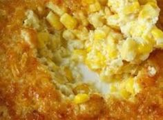 Crockpot Corn Pudding 1 can cream style corn 1 can whole kernel corn 8 oz sour cream 1 stick melted butter 2 eggs, beaten 1 box Jiffy corn meal mix Combine everything in a bowl. Spray your crockpot. Pour it all in. Cook on low hours or on high 4 hours. Creamy Corn Casserole, Corn Cassarole, Corn Casserole Jiffy, Cornbread Casserole, Vegetable Casserole, Great Recipes, Favorite Recipes, Yummy Recipes, Healthy Recipes