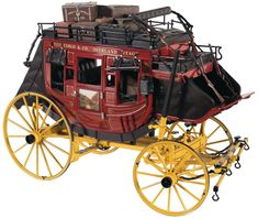 Franklin Mint Scale Die Cast Wells Fargo & Company Overland Stagecoach Model with Four Books on the Wells Fargo Express Ferrari Model, Wells Fargo Stagecoach, Steampunk Mechanic, Horse Drawn Wagon, Wooden Wagon, Old Wagons, Covered Wagon, Chuck Wagon, Gypsy Wagon