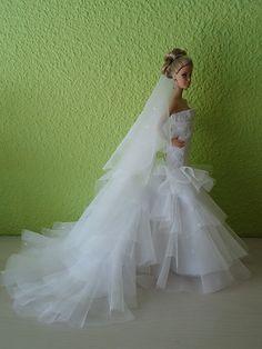 Barbie Bridal, Barbie Wedding Dress, Wedding Doll, Couture Wedding Gowns, Barbie Dress, Barbie Clothes, Bridal Gowns, Wedding Dresses, Bridal Sets