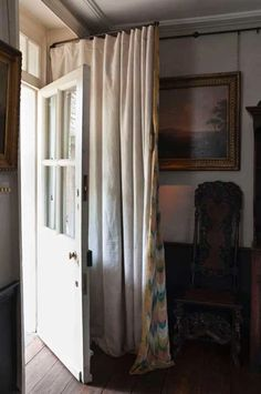 Hanging Curtains Over Vertical Blinds . Hanging Curtains Over Vertical Blinds . Hallway Curtains, Front Door Curtains, Front Doors With Windows, Hanging Curtains, Curtains With Blinds, Curtain Door, Dormer Windows, Valance, Door Window Covering