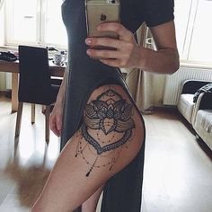 Lace Lotus Flower Mandala Chandelier Hip Tattoo Placement Ideas for Women - Blac. Lace Lotus Flower Mandala Chandelier Hip Tattoo Placement Ideas for Women – Black Henna Leg Side Hip Thigh Tattoos, Leg Tattoos Women, Tattoo Women, Tattoo Girls, Side Hip Tattoos, Girl Leg Tattoos, Side Tattoos For Girls, Unique Tattoos For Women, Body Art Tattoos