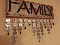 Custom Wood Family Calendar Sign. Custom stamped metal name tags available separately on Etsy, $33.00