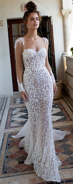 BERTA Wedding Dresses. Fitted mermaid lace bridal gown with chapel train and open back. Sweetheart lace plunging neckline wedding gown with long sleeves #weddingdress #weddingdresses #bridalgown #bridal #bridalgowns #wedding